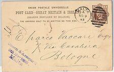 GB -  POSTAL HISTORY - British  POSTAL STATIONERY CARD from MALTA to ITALY 1883