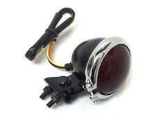 LED Rücklicht Rund Bremslicht Schwarz Chrom Scrambler Bopper Tracker Cafe Racer
