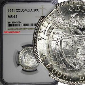 Colombia Silver Bolivar 1941 20 Centavos NGC MS64 1 GRADED HIGHEST KM# 197 (24)