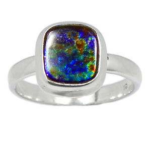 Genuine Canadian Ammolite 925 Sterling Silver Ring Jewelry s.7.5 BR99944