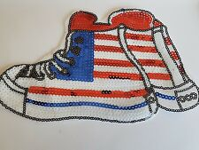 usa boot sneaker american sequin embroidered lace applique motif patch costume