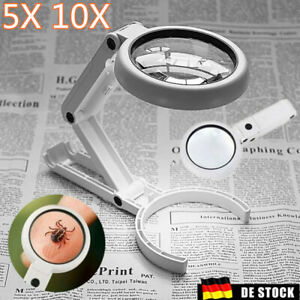 5X 10X Lupe mit 8 LED Licht Desktop Lupe Stand 10X 5X Objektiv Handheld Leselupe