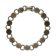 "5 Antique'd BRASS BRACELET Blank FORM ~13 Pads~Add Cabochons Beads ~ Longer 8.2"""