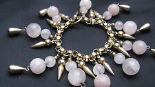 "1980s Designer Robert Lee Morris/Donna Karan Rose Quartz 7"" Gold Tone Bracelet"
