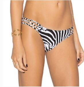 M NWT New PILYQ African Rays Zebra Print Strappy Full Bikini Bottoms Women/'s S