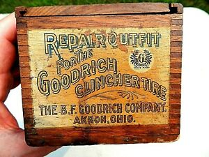 ANTIQUE 1900-1915 B.F. GOODRICH CLINCHER TIRE REPAIR OUTFIT DOVETAILED WOOD BOX