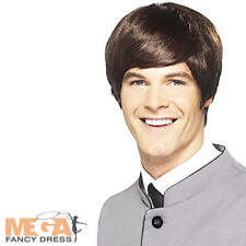 Mens 60s Short Brown Mod Wig Adults 1960s Fancy Dress Celebrity Costume Wig New
