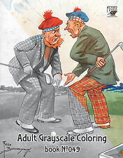 Adult Coloring Book (24 pages) Funny Golf Scotland Vintage FLONZ grayscale 049