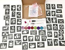 Girls PARTY GLITTER TATTOO KIT 158 stencils 8 glitters Refill glitter body art