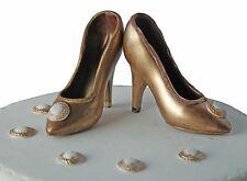 GOLD Handmade Milk Chocolate Shoes Cake Birthday Set Cake Topper Decoration