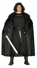 Mens Jon Snow Costume Black Medieval Game of Thrones Sheriff Fancy Dress 38-46