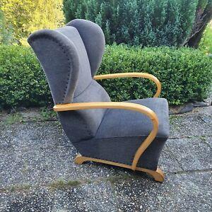 Vintage Art Deco Ohrensessel Sessel Stoff Holz Lesesessel 20er 30er Jahre
