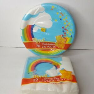 Vtg CA Reed Rainbow Clouds Paper Party Supplies 50 Napkins 50 Plates Sealed