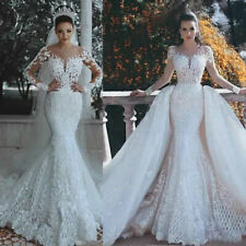 Removable Skirt Wedding Dresses Mermaid Detachable Train White Ivory Long Sleeve