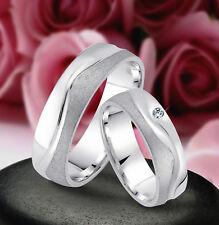 2 Ringe Trauringe Eheringe mit Stein, 6mm , Silber 925 , Gravur Gratis , J13-1