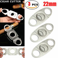 3-PCS Silver Stainless Steel Pocket Cigar Cutter Knife Scissors Double Blades