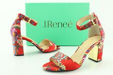 J. Renee Flaviana Women's US 7 M Red Asian Floral Satin Ankle Strap Sandals D551