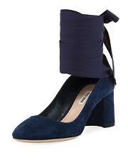 NEW Miu Miu by Prada Suede Ankle-Wrap Pump Blue Oltremare 37.5 IT / 7-7.5 US