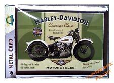 Carte postale en métal HARLEY DAVIDSON plaque moto Knucklehead 1936 61 postcard