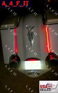 Harley Davidson Bagger Stretched Bags AMBER RED LED Lights Fender