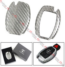 LUXURY SILVER CARBON FIBER KEY CASE SKIN COVER FOR MERCEDES-BENZ SMART KEY FOB