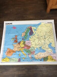Rare Large Vintage Double-sided School Map Europe 1987 Physical & Political