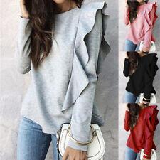 Womens Fashion Ruffle Long Sleeve Solid Sweatshirt Tops Ladies Crew Neck Blouse