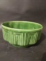 VINTAGE HAEGER POTTERY #157 GREEN ART DECO ROUND BOWL PLANTER MADE IN U.S.A.