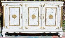 White Shabby Chic French Country Brass Fitted Sideboard Cabinet Buffet Storage
