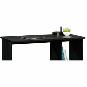 Small Space Writing Desk with 2 Shelves, Rustic Pine Finish / True Black Oak