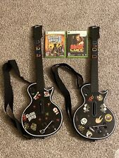 Lot of 2 - Xbox 360 🔥 Guitar Hero Gibson Les Paul + 2 Games + Straps TESTED