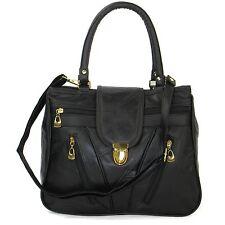 NEW REAL LEATHER Ladies Shoulder Bags Women Across Body Handbag Black Office UK