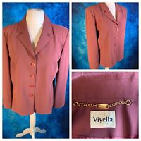 VIYELLA Ladies Dusty Pink Jacket Size 18 Lined  Buttons Long Sleeve Smart Work
