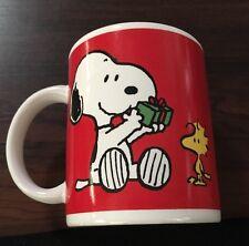 Snoopy and Woodstock Christmas Gift Exchange Coffee Cup Mug Vintage Peanuts