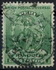 Peru 1896-1900 SG#340, 5c Green, Pizarro Used #E1272