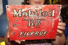 """Vintage 1930's Mobil Mobiloil """"BB"""" Motor Oil Gas Station Metal Sign"""