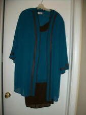 ANNA MAXWELL 3pc  DUSTER PANTSUIT SET PLUS SIZE 3X  TURQUOISE & BROWN  CASUAL