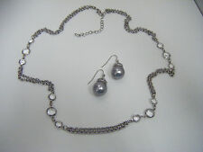 Multi Strand Silver Tone Chains With Crystal Accents Necklace  & Faux Pearl Ear