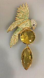 "Chickadee Clear Green Crystals Goldtone Bird Pin Brooch Signed 4 1/2"""