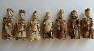 "Rare Antique Set Japanese Bone 3 /12""  7 Lucky God Snuff Bottles Original Box"
