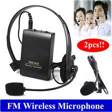 2pcs Wireless Lapel Clip Microphone Hands-free FM Megaphone for Speaker Teacher