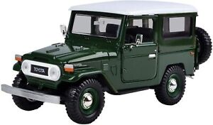TOYOTA FJ40 DARK GREEN WITH WHITE TOP 1:24 SCALE MODEL BY MOTORMAX 79323