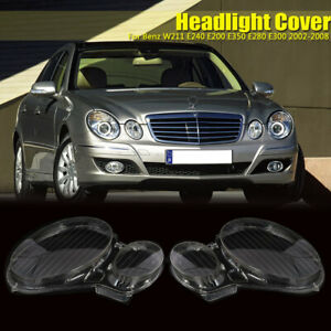 Pair Headlight Clear Lens Cover Replacement For MERCEDES BENZ E CLASS W211 02-08