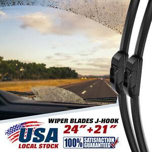 "24"" + 21"" OEM Quality Bracketless Windshield Wiper Blades J-Hook Pair All Season"