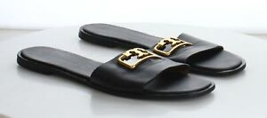 28-39 MSRP $248 Women's Size 10.5M Tory Burch Selby Black Leather Slide Sandals