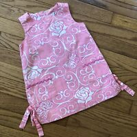 Lilly Pulitzer Girls Pink White Dress Flowers, Scrolls, Butterflies Size 2T