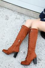 Fashion Womens Suede Leather Lace Up Riding Side Zip Block Heels Knee High Boots