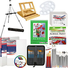 72-Piece Acrylic Painting Set - Table Easel, Aluminum Easel, Brushes, Paint