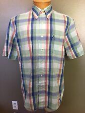 Nautica Mens Button Down Short Sleeve Shirt Size Large PLAID D7