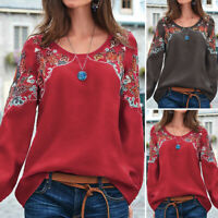 VONDA Womens Blouse Pullover Plus Size Long Sleeve Embroidery Floral Top Shirt